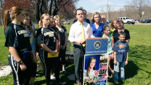 State Sen. David Carlucci announces the Fun Run 5K that will be held in memory of Larissa Karasik, who was killed by a drunk driver.