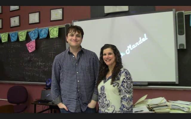 Briarcliff High School graduate Sam Chalsen, left, with drama teacher Jamie Mandel.