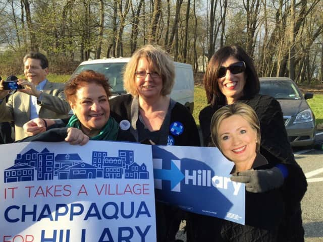Dawn Greenberg, center, a member of Chappaqua Friends of Hillary, says the group will be well represented at the Democratic convention in Philadelphia this month. She is shown with Iris Weintraub Lachard, left, and Randee Glazer.