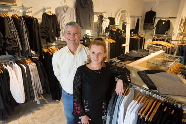Charlie White, owner of Lyn Evans, with Jenn Shotkus.