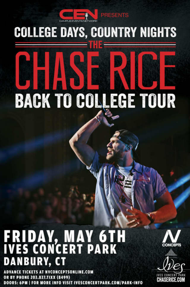 Chase Rice will perform at Ives Concert Park in Danbury on May 6