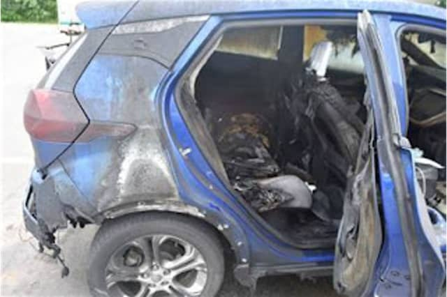 Photo of a 2019 Chevrolet Bolt EV that caught fire on July 1, according to Vermont State Police.