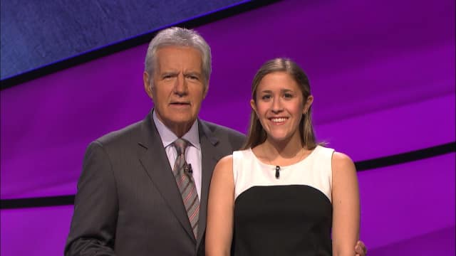 Armonk resident Chloe Zung with Alex Trebek.