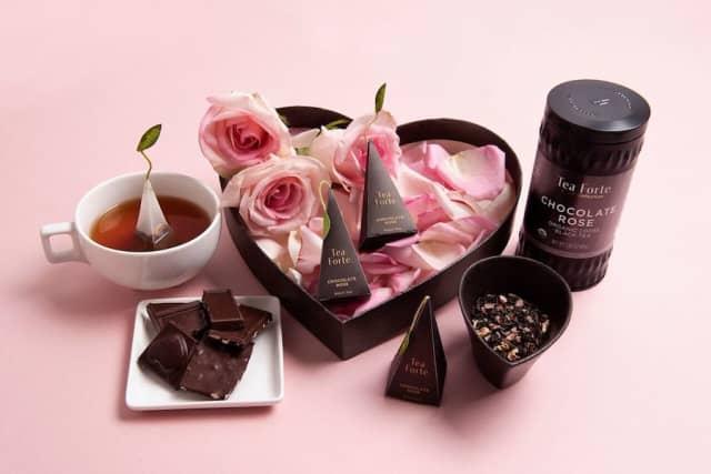 Chocolate Rose Tea, part of Tea Forté's Noir collection, enables us chocoholics to indulge without the guilt. Courtesy Tea Forté.