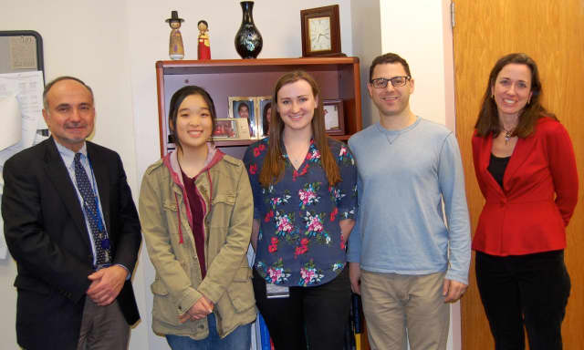 Left to right: Dr. Sabatini, Principal, Claire Choi, Jessica Walkowich, English Teacher, Jeff Train, English Teacher, and Mrs. Anne Paolucci, District English Supervisor