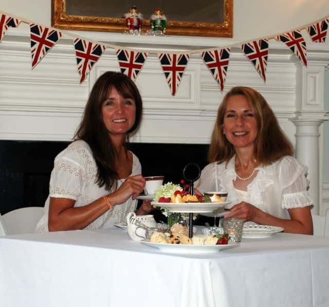 Darien residents Marianne Wadleigh and Allie Callan enjoy catching up over tea.