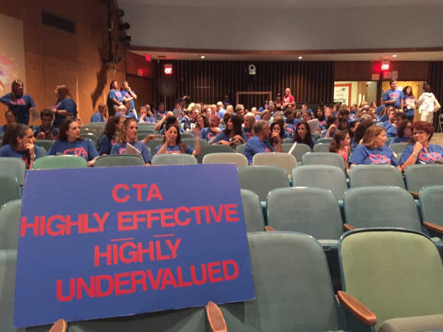 Members of the Clarkstown Teachers Association and supporters protested the lack of a new contract at a June 2 board of education meeting.