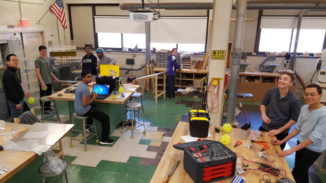 Clarkstown High School North students preparing for a regional robotics tournament in March.