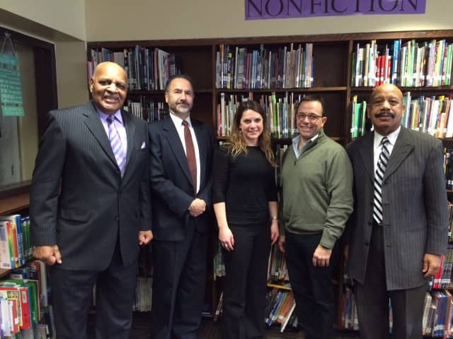 Pictured Left to Right: Reverand Gerald Washington, Superintendent of Schools Dr. Edward A. Kliszus, Rabbi Jaymee Alpert, Port Chester Village Mayor Dennis Pilla and Reverand Robert Girtman