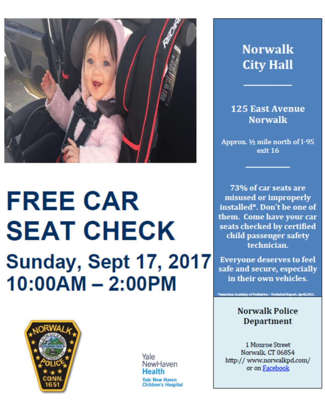 Norwalk Police will hold a free car seat check this weekend at City Hall.