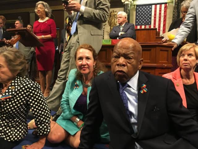 Rep. Elizabeth Esty and Rep. John Lewis participate in a sit-in in the Well of the House of Representatives along with dozens of House Democrats to demand action on gun control.