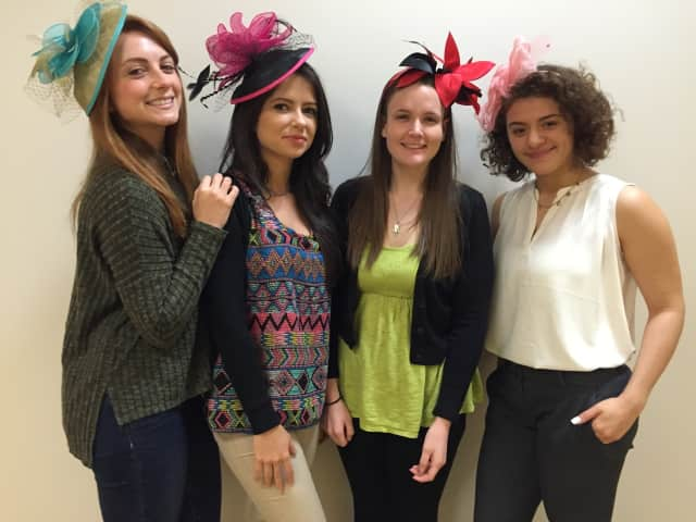 MSCO Employees In Derby Hats: Left to right: Annie Dunning, Ligia Barao, Jade Goodman and Heather Valentin-Kang
