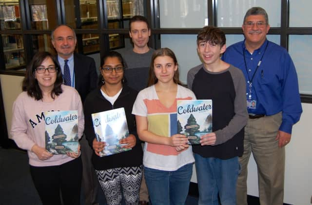 Pictured bottom row left to right: Marin DiBlasio, Arya Suva, Isabel Zangoglia, Joseph Gibbs Top row left to right: Dr. Bruce Sabatini, Principal, Mr. Mike Conner, Ass't.Advisor, Mr. Mike Peri, Advisor.