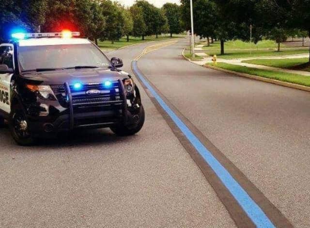 DPW workers in Hanover, PA, painted this line last month in support of law enforcement.