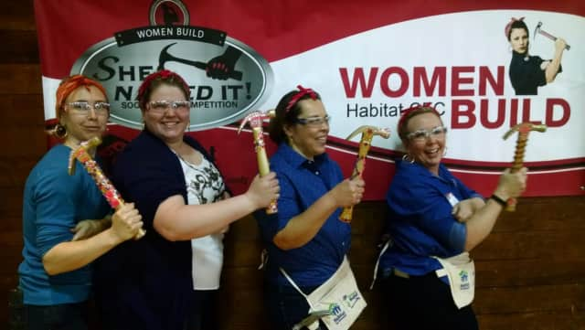 Team Googly Eyes, featuring women from Norwalk and Stratford, won the 2nd annual She Nailed It ladies-only nail-hammering contest to benefit Habitat for Humanity of Coastal Fairfield County's Women Build program.