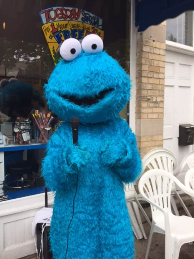 Cookie Monster was spotted in Rye Thursday.