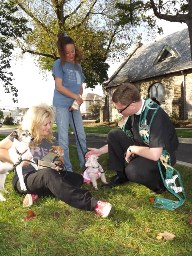 People bring their beloved pets for blessings at Christ Episcopal Church in Ridgewood.