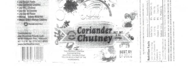 A New York company is recalling packages of coriander chutney because the products contain undeclared allergens.