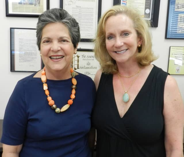 Isabel E. Villar, left, founder and executive director of El Centro Hispano, and Maryann Martin, Woman's Club of White Plains event chair.