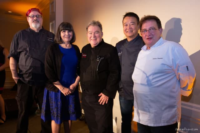 Four distinguished local chefs–Didier Dumas, Didier Dumas Patisserie; Peter X. Kelly, Xaviars Restaurant Group; Doug Nguyen, SABI Sushi, Dumplings & Noodles; and Kevin Reilly, Roost Restaurant–donated their time for Good Samaritan's Corks & Forks.