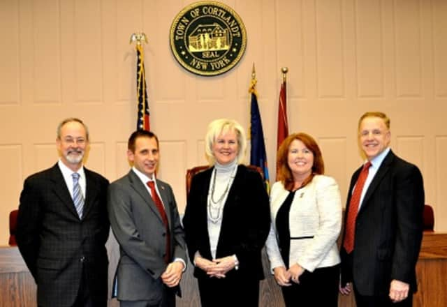 From left, Cortlandt Town Board members Francis X. Farrell, Seth Freach, Supervisor Linda D. Puglisi, Debra Costello, and Richard Becker.