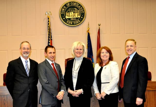 The Cortlandt Town Board and its members have been named in a civil rights suit bought by a proposed luxury rehabilitation center. They are (l-r), Francis X. Farrell, Seth Freach, Supervisor Linda D. Puglisi, Debra Costello, and Richard Becker.