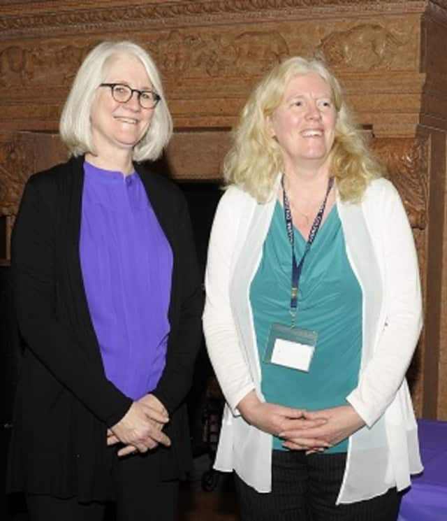 Dr. Susan Cowles-Dumitru (right), Westlake Middle School art teacher, won a grant from the Teacher Center of Central Westchester. At left is Mary Ellis, the school's director of curriculum and instruction.