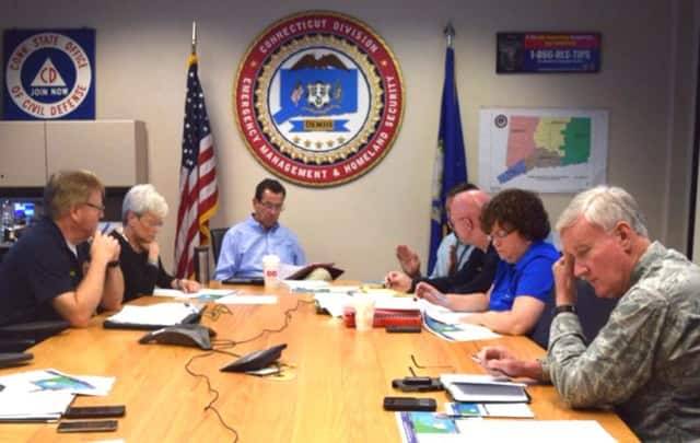 Gov. Dannel Malloy meets Sunday morning with Lt. Gov. Nancy Wyman and other state leaders on the possible impact of Tropical Storm Hermine on Connecticut.