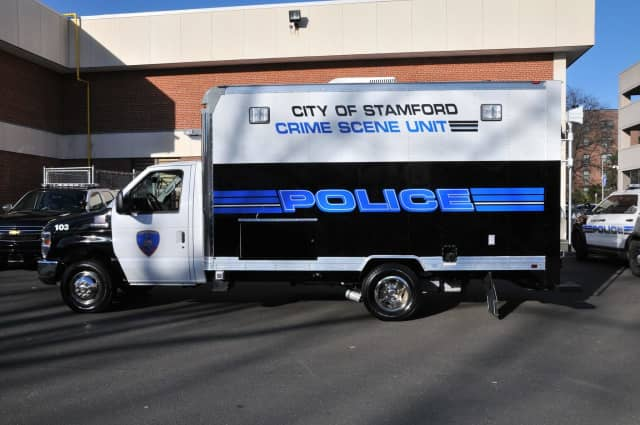 The Stamford Police Department's crime scene van