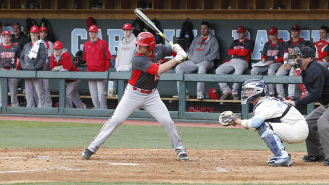 Fairfield University first baseman Mac Crispino poised to swing in a recent game.