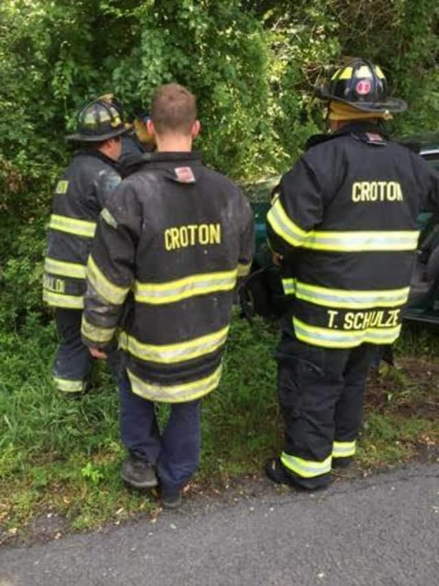 Croton-On-Hudson firefighters on scene at one of the two accidents dealt with on Wednesday afternoon.