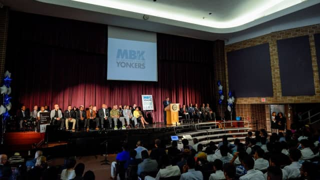 "Yonkers Mayor Mike Spano announcing that the city had accepted President Barack Obama's ""My Brother's Keeper"" Challenge."