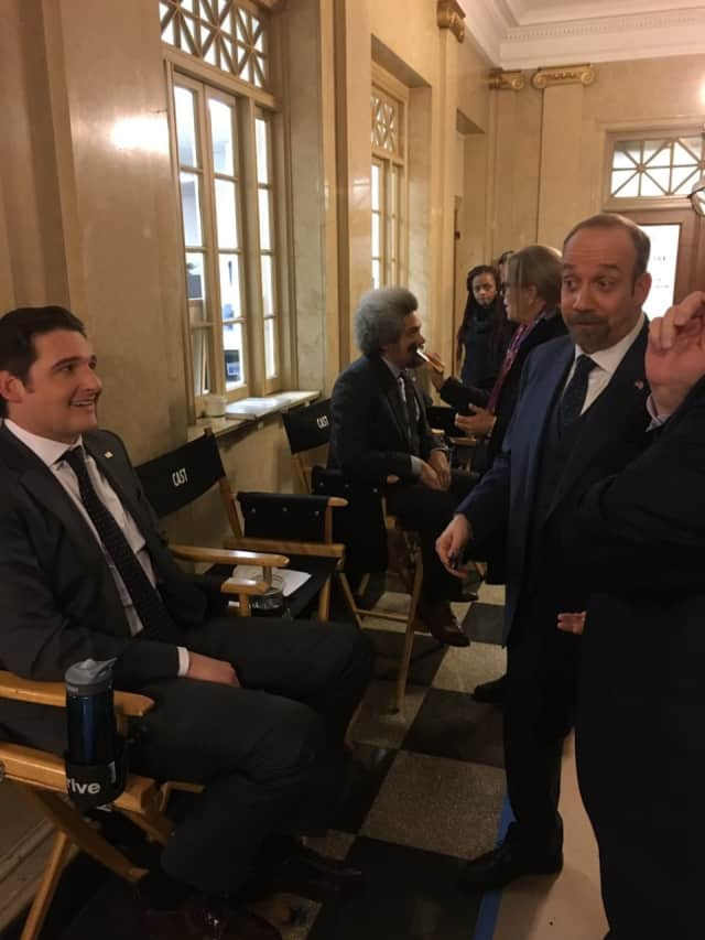 "A scene from Showtime's ""Billions,"" which, in 2016, filmed at White Plains City Hall."