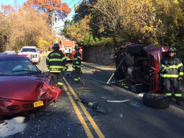 Greenwich firefighters respond to a two-car crash on Saturday afternoon.