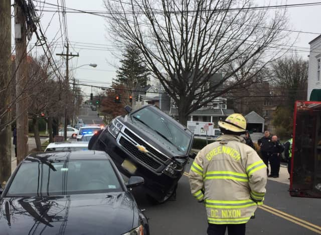 No one was injured in this crash on Elm Street in Greenwich on Thursday.