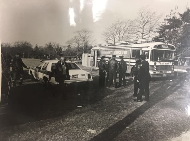 Police respond to the series of explosions tore through the Grucci fireworks factory in Bellport, injuring 24 people and killing two on Saturday, Nov. 26, 1983.