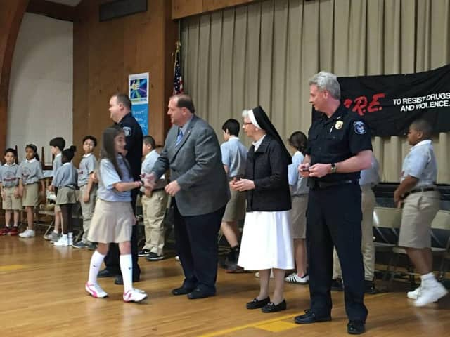 Fifth-Graders from St. Paul's School at the D.A.R.E. graduation ceremony Monday.