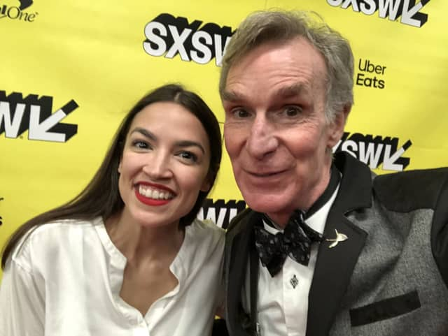 Alexandria Ocasio-Cortez took time to snap a selfie with Bill Nye at the event.
