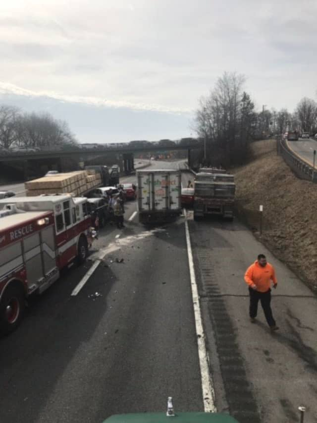 A multiple-vehicle crash is backing up traffic on I-287 in Westchester.