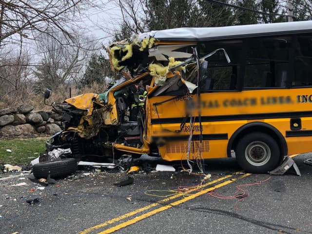 Ten people were injured during a crash between two buses.