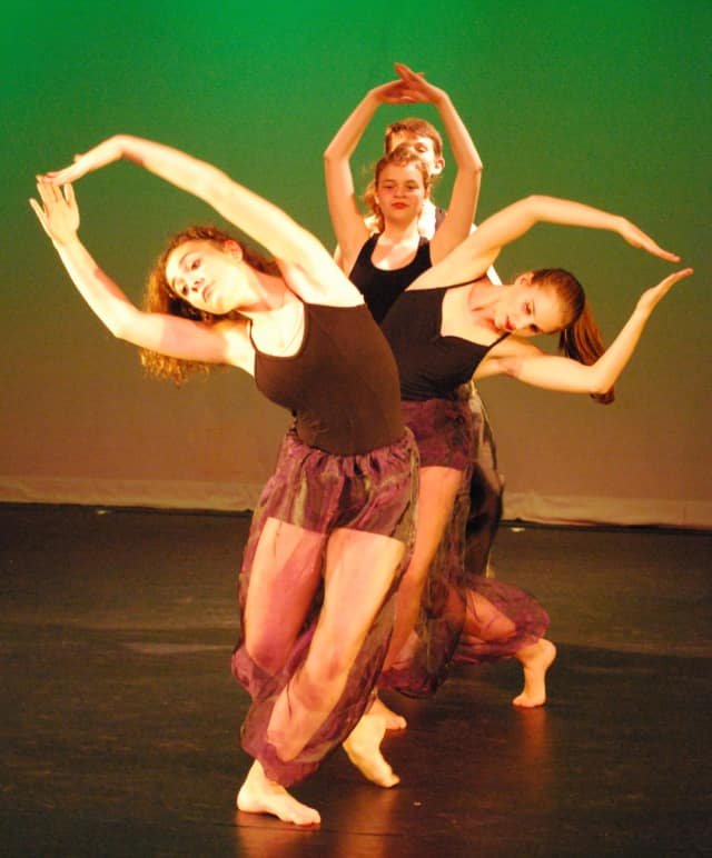 Front to back are Ashley Cassetta, Juliette Dixon, Sophie Vilter and Troy Kelley performing in last year's 'Evening of Dance' at the Darien Arts Center.