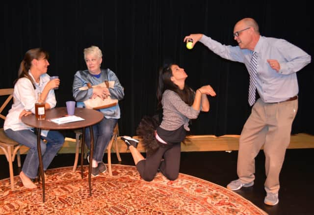 """Susan Stanton, Jacquie Carlsen, Giovanna Olcese and David Jackins bring the comedy """"Sylvia"""" to life in the DAC Weatherstone Studio."""