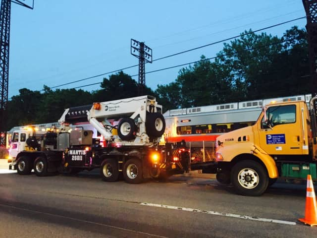 MTA crews are continuing to repair tracks after a derailment Thursday evening in Rye, N.Y., Metro-North said.