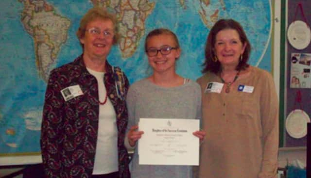 From left: Dianne Wells, DAR Chapter Regent; Molly Wunderlich; and Marge Pavlov, DAR Chapter Chairman, DAR Essay Contest.