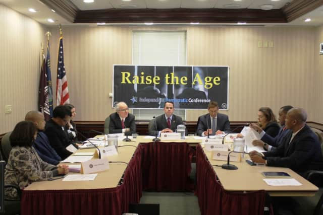 Sens. David Carlucci and Jeff Klein discussed raising the age for criminal prosecution from 16 to 18 at a recent Ossining roundtable.