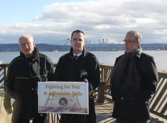 State Sen. David Carlucci (center) is joined by Nyack Deputy Mayor Don Hammond (left) and Orrin Getz (right), a member of the Metro North Commuter Rail Council.