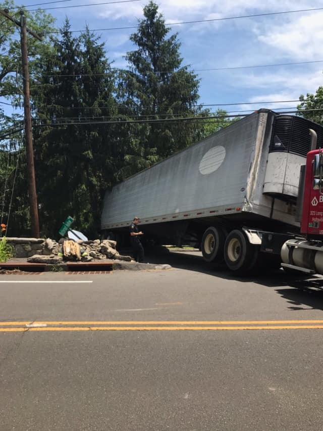 The outcome of a truck accident on Thursday on Lake Avenue in Greenwich.