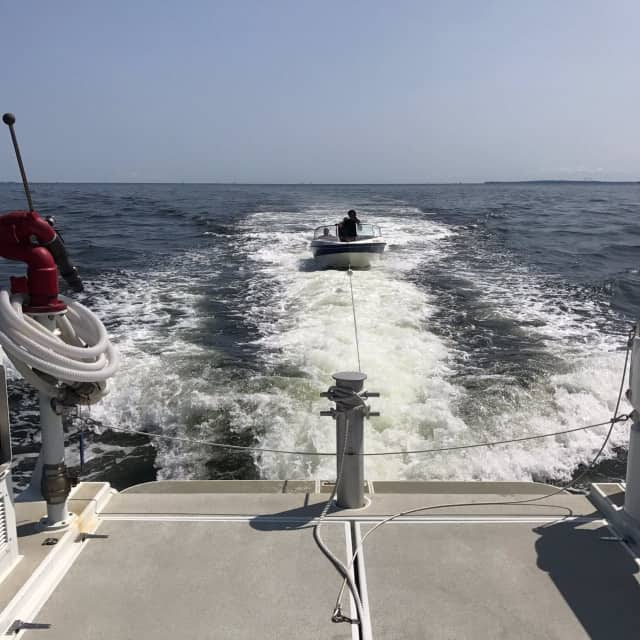 Greenwich Police Boat 139 offers a tow out on Long Island Sound over the weekend.