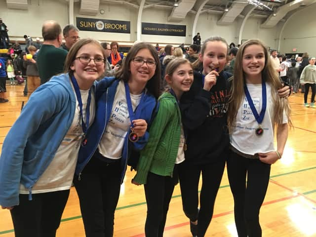 From left, Team VIIPZ members Parker Piccolo Hill, Indrani Malhotra, Zoe Rose, Vanessa Rossi and Isolde McManus, who won the DI state competition in Binghamton.