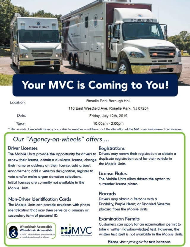 The mobile MVC unit will be in Roselle Parl July 12 offering a range of services, including license renewals.